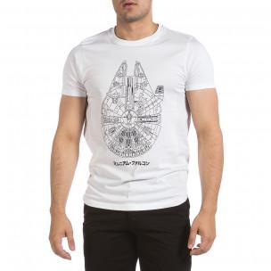 Ανδρική λευκή κοντομάνικη μπλούζα Hey Boy 2