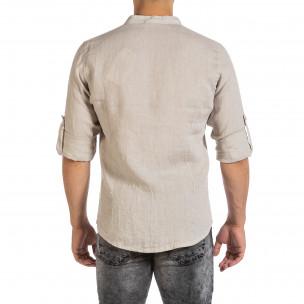 Ανδρικό μπεζ λινό πουκάμισο Duca Fashion  2