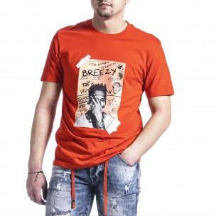 Ανδρική πορτοκαλιά κοντομάνικη μπλούζα Breezy