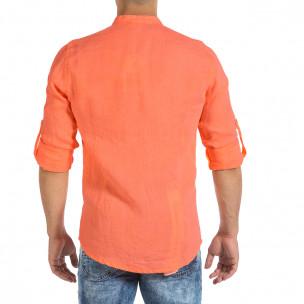 Ανδρικό πορτοκαλί λινό πουκάμισο Duca Fashion  2