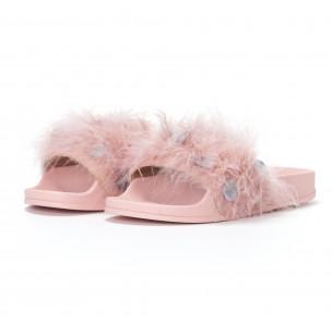 Γυναικείες ροζ παντόφλες με χνούδι και πούλιες 2