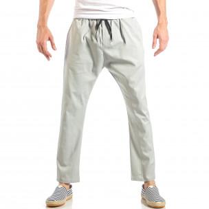 Ανδρικό γκρι ελεύθερο παντελόνι με λάστιχο