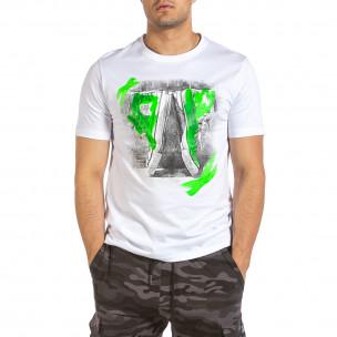 Ανδρική λευκή κοντομάνικη μπλούζα Soni Fashion