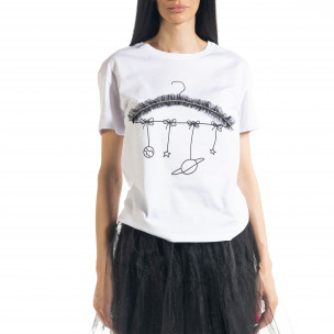 Γυναικεία λευκή κοντομάνικη μπλούζα My Universe