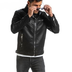 Ανδρικό μαύρο μπουφάν από συνθετικό δέρμα Itenly