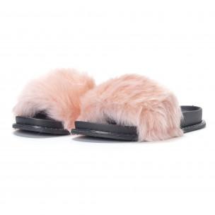 Γυναικείες ροζ παντόφλες με χνούδι 2