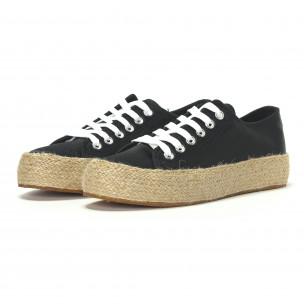 Γυναικεία μαύρα sneakers τύπου εσπαντρίγιες 2