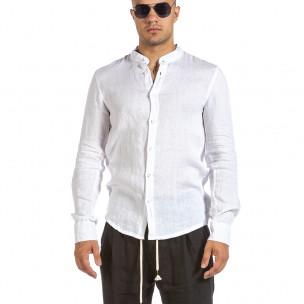 Ανδρικό λευκό λινό πουκάμισο Duca Fashion