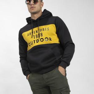 Ανδρικό φούτερ hoodie με κίτρινη λεπτομέρεια