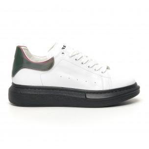 Ανδρικά λευκά sneakers με χοντρή σόλα