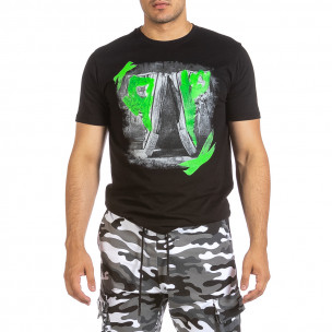 Ανδρική μαύρη κοντομάνικη μπλούζα Soni Fashion