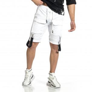 Ανδρικό λευκό βερμούδα Cargo Hip Hop