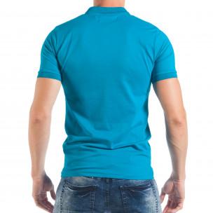 Ανδρική κοντομάνικη πόλο σε γαλάζιο χρώμα  2