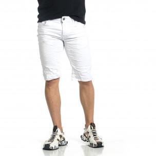 Ανδρικό λευκό τζιν βερμούδα Leox