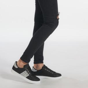 Γυναικεία μαύρα υφασμάτινα sneakers με κορδόνια και ασημένιες λεπτομέρειες   2