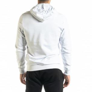Ανδρικό λευκό φούτερ Basic με τσέπη καγκουρό 2