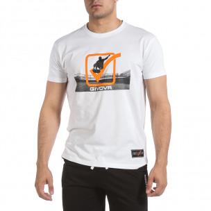 Ανδρική λευκή κοντομάνικη μπλούζα Givova