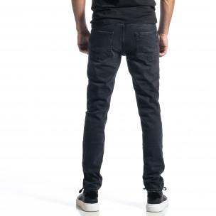 Ανδρικό μαύρο τζιν Long Slim  2