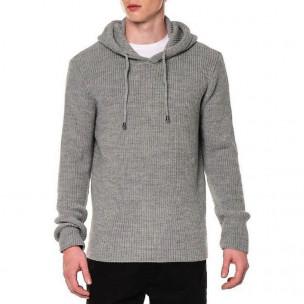 Ανδρικό γκρι πουλόβερ με κουκούλα