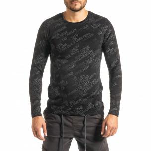 Ανδρική μαύρη μπλούζα με πριντ
