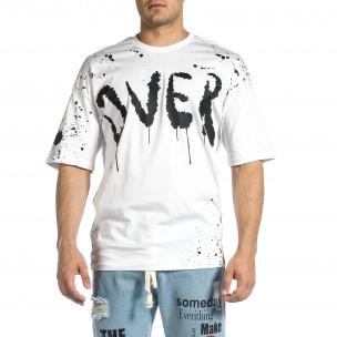 Ανδρική λευκή κοντομάνικη μπλούζα Oversize  2