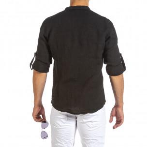 Ανδρικό μαύρο λινό πουκάμισο Duca Fashion 2