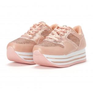 Γυναικεία ροζ sneakers με πλατφόρμα και πούλιες 2