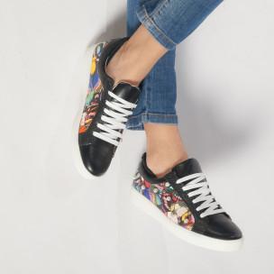 Γυναικεία μαύρα sneakers από οικολογικό δέρμα με μοτίβο και πέρλες