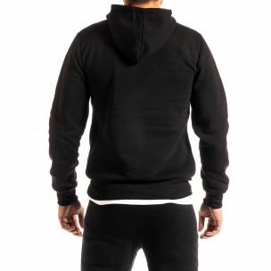 Ανδρικό μαύρο φούτερ με τσέπη καγκουρό 2