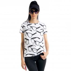 Γυναικεία λευκή κοντομάνικη μπλούζα Glasses