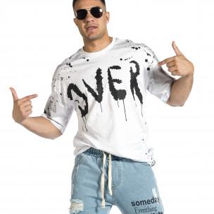 Ανδρική λευκή κοντομάνικη μπλούζα Oversize