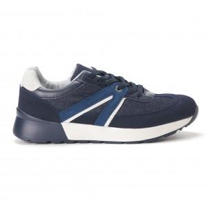 Ανδρικά μπλε sneakers από συνδυασμό υφασμάτων