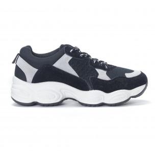 Γυναικεία μαύρα αθλητικά παπούτσια από συνδυασμό υφασμάτων