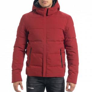 Ανδρικό κόκκινο πουπουλένιο μπουφάν με κουκούλα