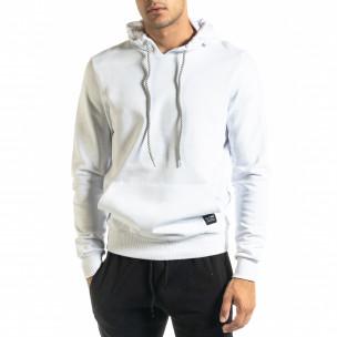 Ανδρικό λευκό φούτερ Basic με τσέπη καγκουρό