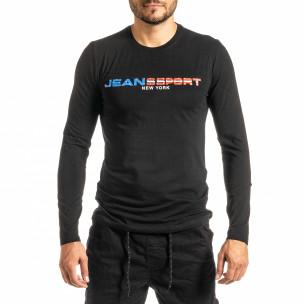 Ανδρική μαύρη μπλούζα Jeans Sport