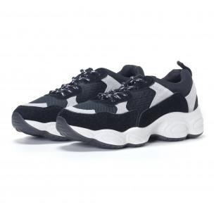 Γυναικεία μαύρα αθλητικά παπούτσια από συνδυασμό υφασμάτων 2