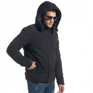 Ανδρικό μαύρο πουπουλένιο μπουφάν με κουκούλα