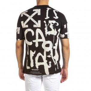 Ανδρική μαύρη κοντομάνικη μπλούζα Maksim  2