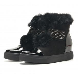 Γυναικεία μαύρα μποτάκια Fashion & Bella  2