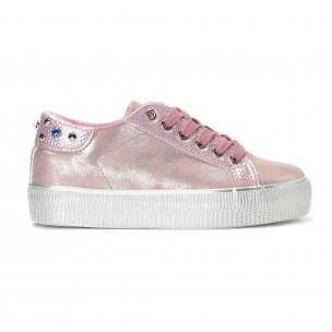 Γυναικεία ροζ sneakers με εφέ πέρλας