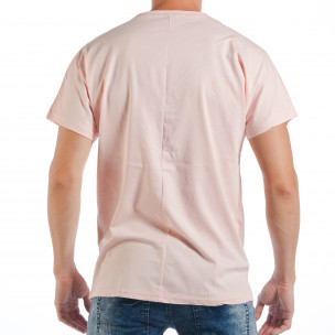 Ανδρική ροζ κοντομάνικη μπλούζα με πριντ παπαγάλο 2