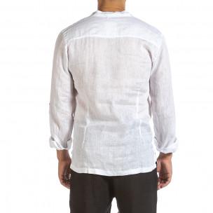 Ανδρικό λευκό λινό πουκάμισο Made in Italy  2