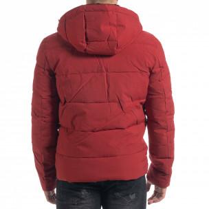 Ανδρικό κόκκινο πουπουλένιο μπουφάν με κουκούλα  2