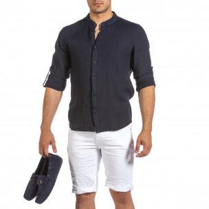 Ανδρικό σκούρο μπλε λινό πουκάμισο Duca Fashion