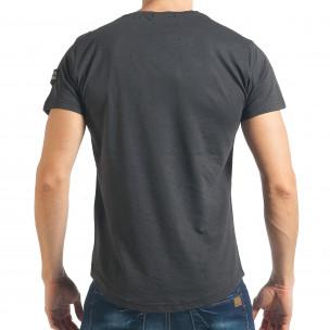 Ανδρική γκρι κοντομάνικη μπλούζα Madmext 2