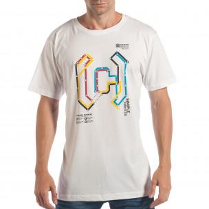 Ανδρική λευκή κοντομάνικη μπλούζα CROPP