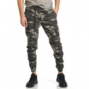 Ανδρικό γκρι-πράσινο καμουφλαζ παντελόνι cargo Blackzi