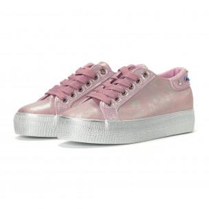Γυναικεία ροζ sneakers με εφέ πέρλας  2