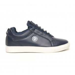 Ανδρικά μπλέ sneakers με logo
